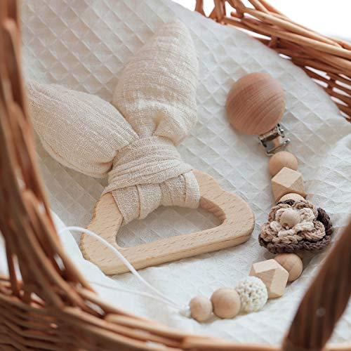 Mamimami Home Baby Holz Beißring Häschenohren Umweltfreundliche Bio Holz Rassel Zahn Ring Kaut Handgemachte Schnuller Kette Sensorische Spielzeug