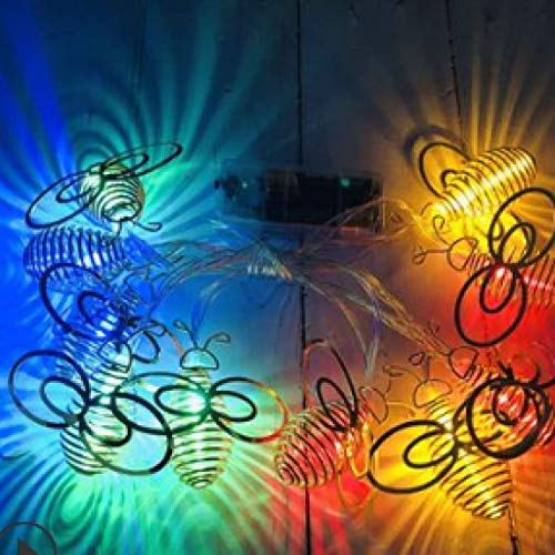 LED Solar Wrought Iron Bee Light String Christmas Tree Pendant Holiday Decorations Golden Bee Four Colors 7 Meters 50 Lights