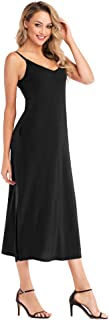 Favogirla Women's Spaghetti Strap V-Neck Split Side Long Maxi Dress with Pockets