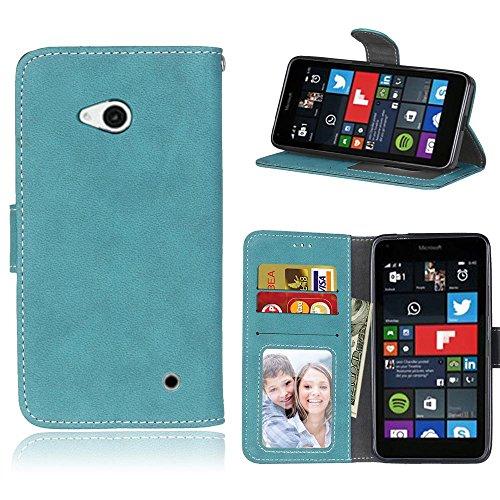 Microsoft Lumia 640 Hülle, SATURCASE Retro Mattiert PU Leder Flip Magnetverschluss Brieftasche Standfunktion Schützend Tasche Schutzhülle Handycover für Nokia/Microsoft Lumia 640 LTE (Blau)