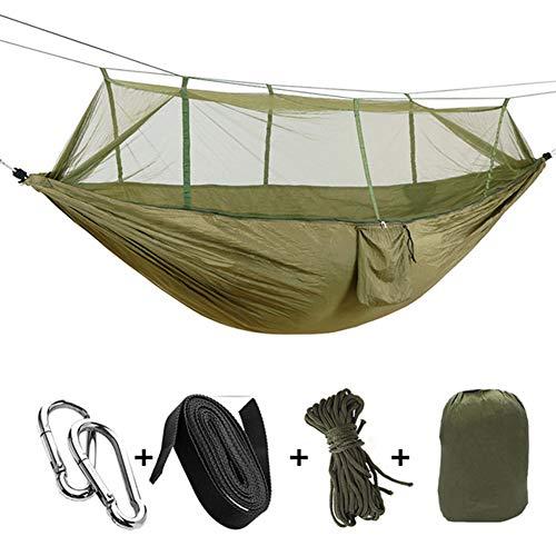 CuiCui Camping Nylon Tragbare Hängematte Doppelzimmer mit Sicherheitsschnalle Moskitonetz und Regenfliege Reiseausrüstung Zelt für Outdoor-Wanderungen Trekkingrucksack Travel Beach Paddock Survival,1