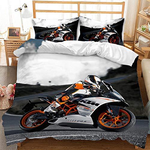 PANDAWDD Funda Nórdica Conjunto De Tamaño Mediano 3D Motociclista 3D/180X220cm Estampado Juego De Cama 3 Piezas Funda Hipoalergénica De Tejido De Microfibra para Niños Adolescentes