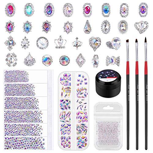 Nail Gems and Rhinestones, Shynek 3318Pcs Nail Art Rhinestones Nail Jewels Crystals with 30pcs 3D Nail Diamonds and Nail Glue for Acrylic Nails