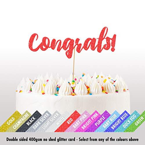 Cakeshop 'Congrats' - Decorazione per torta di nozze con glitter, double face, 400 g/mq, 14 colori e tanti stili Red