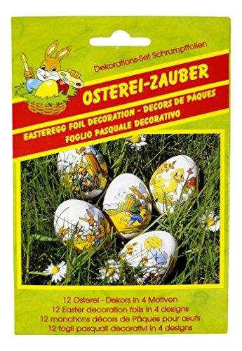 CharmingBoxes Osterei-Zauber Folien - für 12 Eier, 4 Motive - Ostern Dekoration Schrumpffolie Eierfolie, süße Dekore für Eier (1)