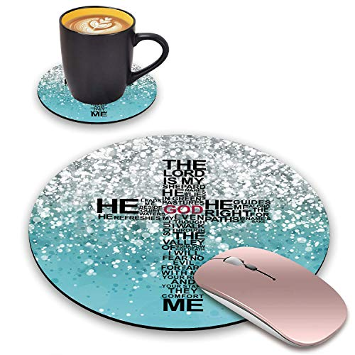 BWOOLL Round Mouse Pad and Coasters Set, Blue Glitter Mouse Pad, God Jesus Christian Cross Design Mouse Pad, Non-Slip Rubber Base Mouse Pads for Laptop and Computer