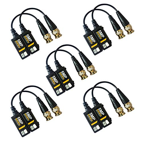 EVERSECU 5 Pairs 5MP Passive HD BNC Video Balun Transceiver Transmitter AHD/TVI/CVI/CVBS Cable Connectors for 720P/960P/1080P/3MP/5MP CCTV Security Cameras