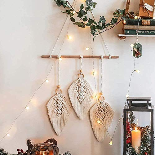 Hylulu - Tapiz de pared para decoración de pared con tacos de madera, diseño bohemio