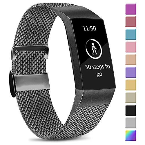 Amzpas Kompatible Für Fitbit Charge 3 Armband/Fitbit Charge 4 Armband, Metall Edelstahl Ersatzarmband Kompatibel mit Fitbit Charge 3/ Charge 4 (L, Space Grau)