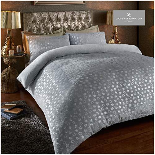 Easy Care Teddy Star Foil Fleece Duvet Cover Set with Pillowcases, Soft & Warm Quilt Set, Double, Grey