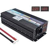 Spannungswandler 12V 230V 2000W Wechselrichter mit AC Steckdose und 2 USB, LED-Anzeige für Eingangs- und Ausgangsspannung