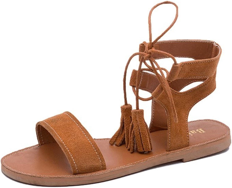 Student Retro Roman Sandals Summer Matte Leather Flat shoes Ladies Thick Sandals Elegant Exposed Toe shoes ( color   Brown , Size   37 )
