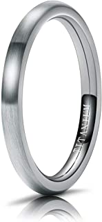 M MOOHAM Titanium Rings 2mm 4mm 6mm 8mm Brushed Wedding Band Classic Domed Ring Comfort Fit Size 5 to 13, Silver, Rose Gol...