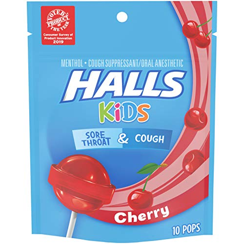 10 Pops, HALLS KIDS Cherry Cough and Sore Throat Pops -$2.49(37% Off)