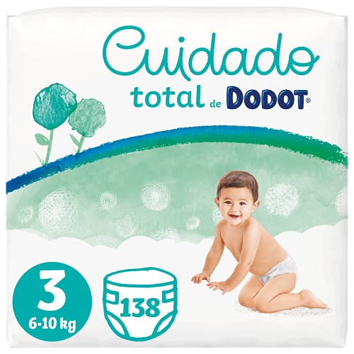 Dodot Pañales Bebé Cuidado Total Talla 3 (6-10 kg), 138 Pañales, Suave Protección de la Piel de Dodot con Ingredientes de Origen Vegetal