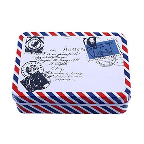 Petite boîte de rangement en métal de forme rectangulaire pour pièces de monnaie