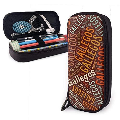 Estuche de lápices de cuero de alta capacidad Gallegos-Apellido, titular de papelería de bolígrafo Organizador de caja de bolsa de almacenamiento grande