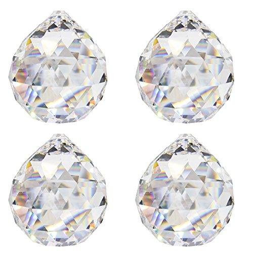 Kristallglaskugel ø 20 mm 4 Stück 30% Bleikristallkugel Regenbogenkristall zum aufhängen Fensterdeko für Feng Shui und Waldorf Kristallglas geschliffene Kristallkugeln