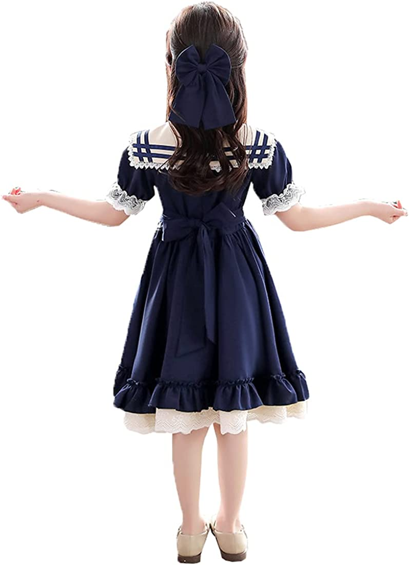 KUFEIUP Girls School Uniform Dress Sailor Collar Bowtie Lolita Fancy Dress 6-13 Years