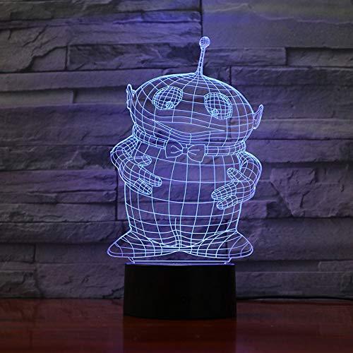 jiushixw 3D acryl nachtlampje met afstandsbediening kleur tafellamp antenne baby kind cadeau baby animatie tafellamp