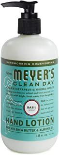 Mrs. Meyer's Clean Day Hand Lotion, Long-Lasting, Non-Greasy Moisturizer, Cruelty Free Formula, Basil Scent, 12 oz