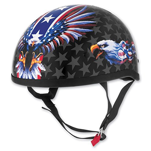 Skid Lid Lethal Threat US Flame Eagle Adult Original Street Motorcycle Helmet - Black/Blue/X-Large