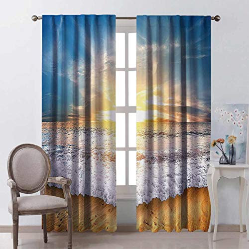 Ocean Decor Collection Energy-saving and noise-reducing Idyllic Scene of a Sunset with Zippy Waves Moving on to Sand at a Beach Picture Print rod-shaped pocket curtains for the living room W100 x L84