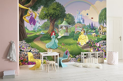 Komar 8-449 Fototapete aus Papier Disney Princess Rainbow, Größe 368 x 254 cm (Breite x Höhe), 8 Teile, inklusive Kleister, Made in Germany, Bunt