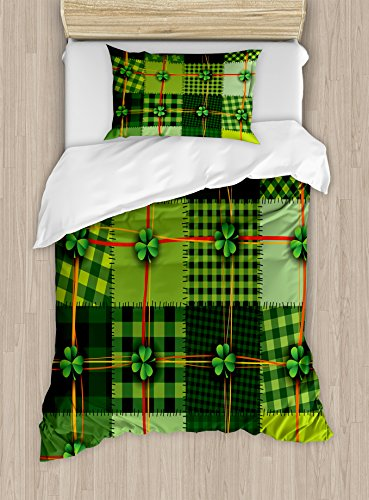 Ambesonne Irish Duvet Cover Set, Patchwork Style St. Patrick's Day Themed Celtic Quilt Cultural Checkered Clovers, Decorative 2 Piece Bedding Set with 1 Pillow Sham, Twin Size, Green Orange