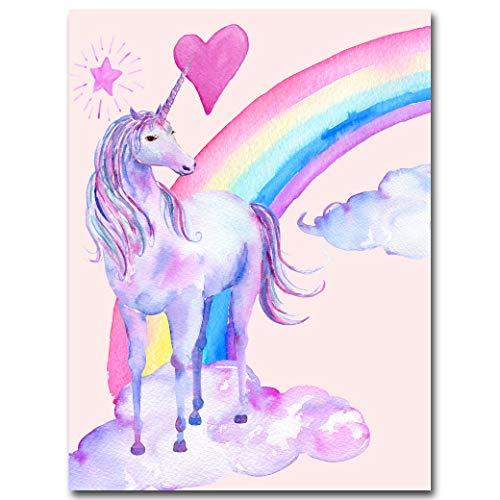 YLKWL Rainbow Unicornio Posters Impresiones En Lienzo Acuarela Pegaso Pintura Arte De La Pared ImagenDecorativa Decoración para Niños,20x25cm