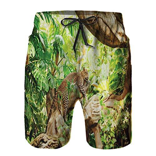 Pantalones Cortos De Playa para Hombres,Leopardo en la rama en Savannah Exotic Macro Tropical Leaf Jungle,Pantalones De Chándal De Secado Rápido, Bañador De Verano para Ejercicios Al Aire Libre L