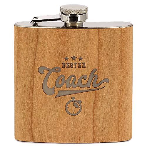 Donari ® - Edelstahl Flachmann - Inklusive edler Geschenkverpackung - Geschenk für Trainer & Fußballer - Perfektes Trainer Geschenk - Flachmann mit Holz Optik