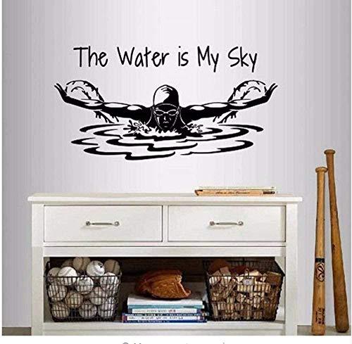 Pegatinas De Pared Calcomanía El Agua Es Mi Cielo Frase Cita Natación Chica Mujer Nadador Mariposa Deportes Diseño Mural Extraíble Negro 81X42Cm