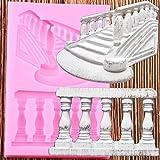 BeiQianE 3D Escalera Barandilla Frontera silicón moldea DIY Decoración de Pasteles Pasta de azúcar del Molde de la Torta de la hornada del Caramelo dela Arcilla del Chocolatedel Molde