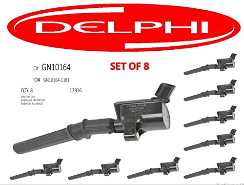Price comparison product image DELPHI GN10164 Ignition Coil for Ford 4.6L 5.4L V8 DG457 DG472 EXPLORER CROWN VICTORIA EXPEDITION F-150 F-250 MUSTANG LINCOLN EXPLORER DG508 3W7Z12029AA GN10164-111B set of 8