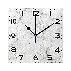 Naanle Chic 3D White Marble Stone Print Square Wall Clock, 8 Inch Battery Operated Quartz Analog Quiet Desk Clock for Home,Office,School