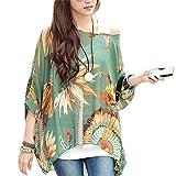 JLTPH Donna Bohemian 3/4 Sleeve Chiffon Blouse off Shoulder T-shirtTop (Color04)
