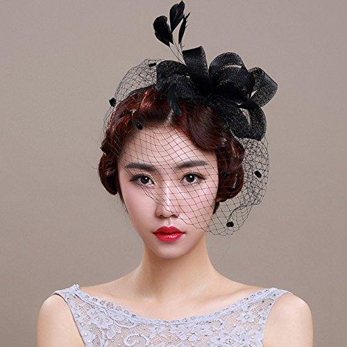 Veewon Damen Elegante Feder Fascinator Haarklammer Hüte Hochzeit Cocktail Netzschleier Stirnband (Schwarz)