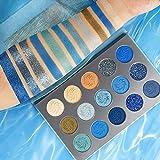 Afflano Blu Palette Ombretti Professionali Matte Shimmer Glitter,Pigmentati Ombretti Make Up Palette Opachi Brillantinati, Waterproof Eyeshadow Palette Blue, Lunga Durata Trucchi Ombretto Nude Blu