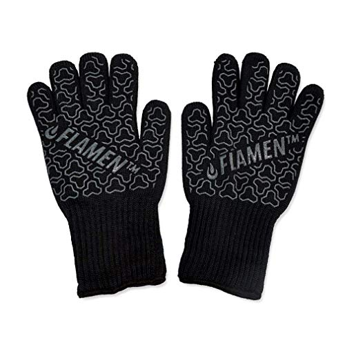 "BBQ Grill Cooking Gloves 932 °F 500°C Heat Resistant Oven Mitts 13"" Long Extra Forearm Protection for Cooking, Grilling, Baking or Pot Holder (Black)"