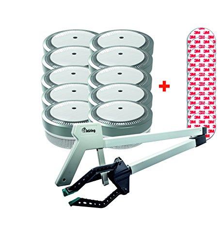 Jeising Mini Rauchmelder RWM100-Grau 10er Set mit Klebepad 3M Premium selbstklebend + kostenloser Montagehilfe 3 Finger Greifer ©- 10 Jahres Batterie - VDs