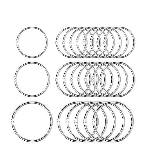 YoungRich 80 Stück Buch Binder Metall Book Binder Ringe Schlüsselringe Keychain Ringe Binder für Loseblatt Verbinder Ringe Document Album Scrapbook Handwerk,Größe 1 Zoll 1,2 Zoll 1,7 Zoll Durchmesser