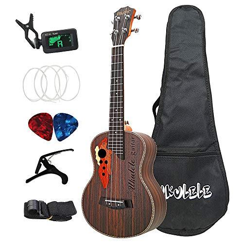 Fransande 26 Pulgadas de Ukelele Tenor Grape Sound Hole Guitarra Hawaiana 4 Cuerdas Ukelele de Palisandro con Bolsa