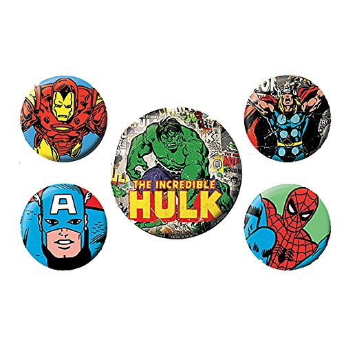 Echte Marvel-Comics Der unglaubliche Hulk 5-teiliges Abzeichen-Set Thor Iron Man