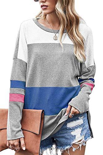 Odosalii Camiseta de manga larga para mujer, estilo casual, cuello redondo, para mujer