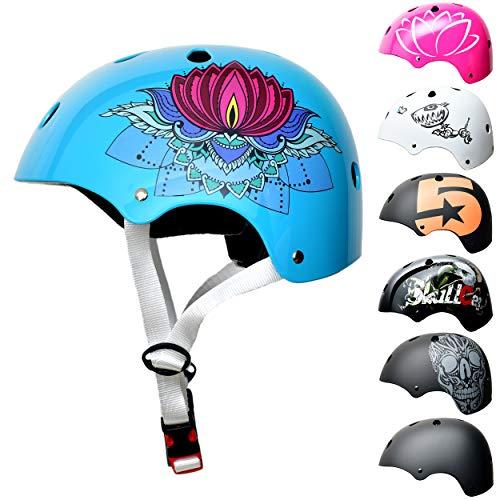 Skullcap BMX Helm - Skaterhelm - Fahrradhelm - Herren Damen Jungs & Kinderhelm, Design Lotus-Blume, Größe S (53 - 55 cm)