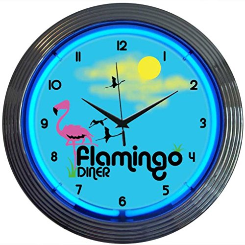 Price comparison product image Neonetics Retro Flamingo Diner Neon Wall Clock