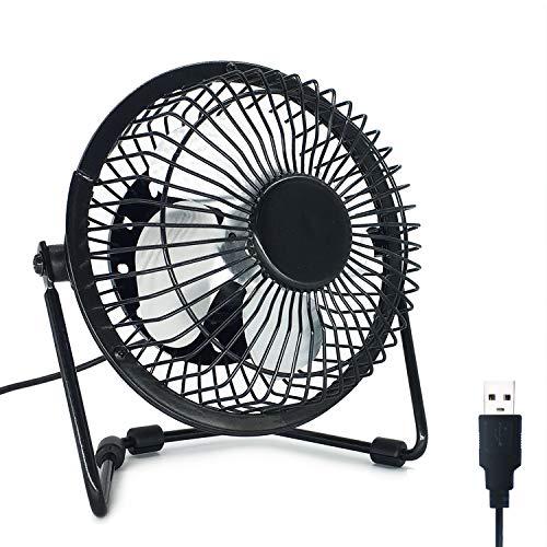 EzLife Mini Ventilatore USB, Mini Ventilatore Portatile 4 Pollici 360° Girevole Ventilatore da Tavolo Silenzioso Compatibile con Notebook, Computer, PC Desk per la Casa, Ufficio, Campeggio - Nero