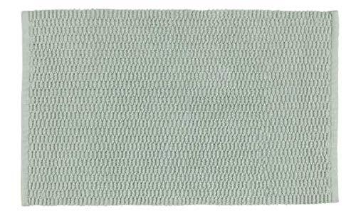 WENKO Badteppich Mona Hellgrün - Badvorleger mit trendiger Oberflächenstruktur, rutschhemmende Beschichtung, waschbar, Baumwolle, 50 x 80 cm, Grün