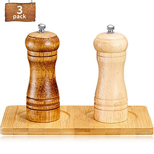 2 Stück Holz Pfeffermühlen Pfeffer Salzmühle mit Einstellbarer Grobheit, Bambus Holz Mahltablett für Haus Küchenbedarf
